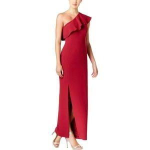 Calvin Klein Ruffle One Shoulder Side Slit Dress